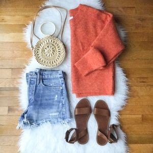 Revolve Heartloom Esther sweater boxy orange sz L